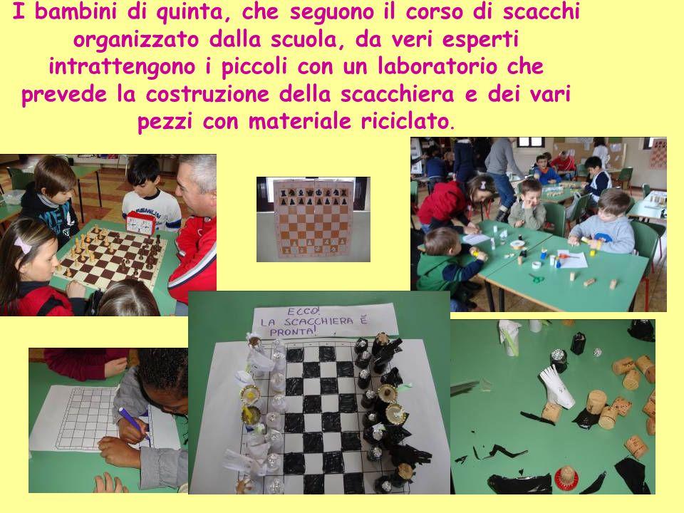 I bambini di quinta, che seguono il corso di scacchi organizzato dalla scuola, da veri esperti intrattengono i piccoli con un laboratorio che prevede la costruzione della scacchiera e dei vari pezzi con materiale riciclato.