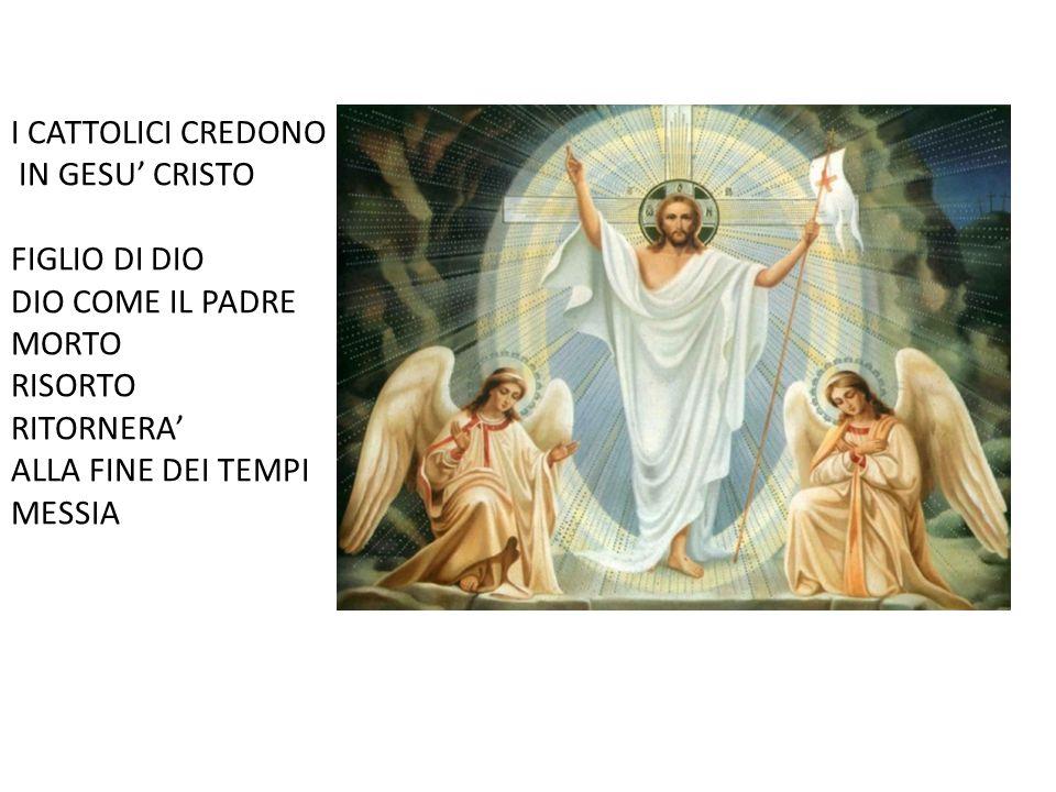 I CATTOLICI CREDONO IN GESU' CRISTO. FIGLIO DI DIO. DIO COME IL PADRE. MORTO. RISORTO. RITORNERA'