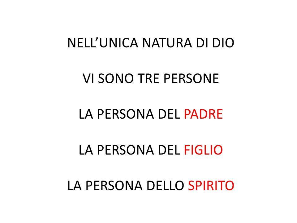 NELL'UNICA NATURA DI DIO VI SONO TRE PERSONE LA PERSONA DEL PADRE