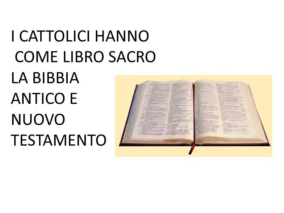 I CATTOLICI HANNO COME LIBRO SACRO LA BIBBIA ANTICO E NUOVO TESTAMENTO