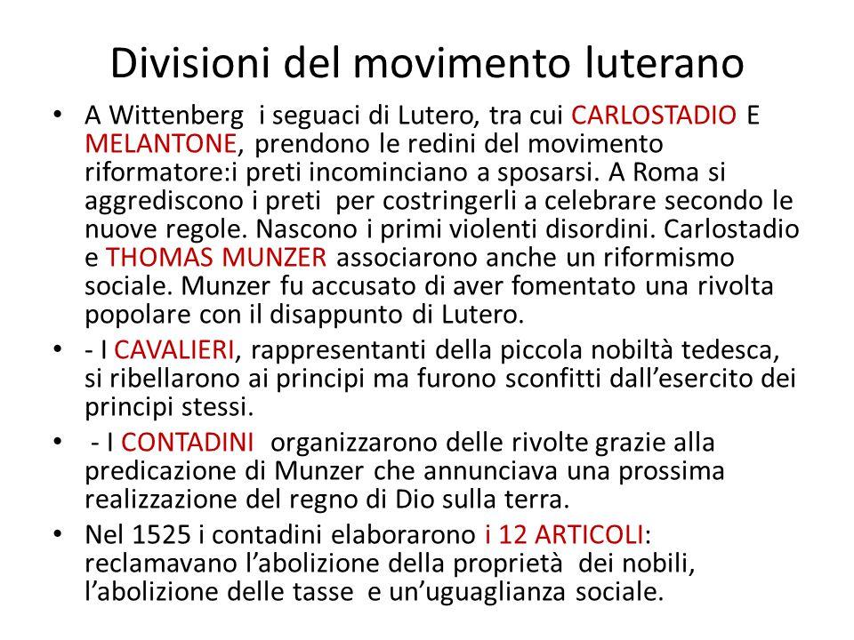 Divisioni del movimento luterano