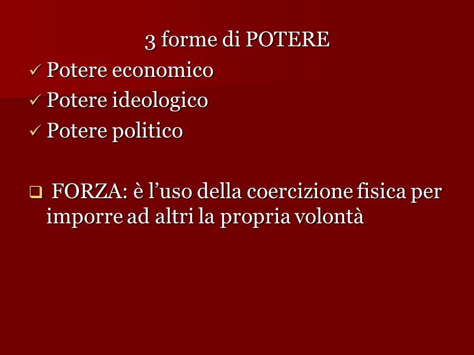 3 forme di POTERE Potere economico. Potere ideologico. Potere politico.