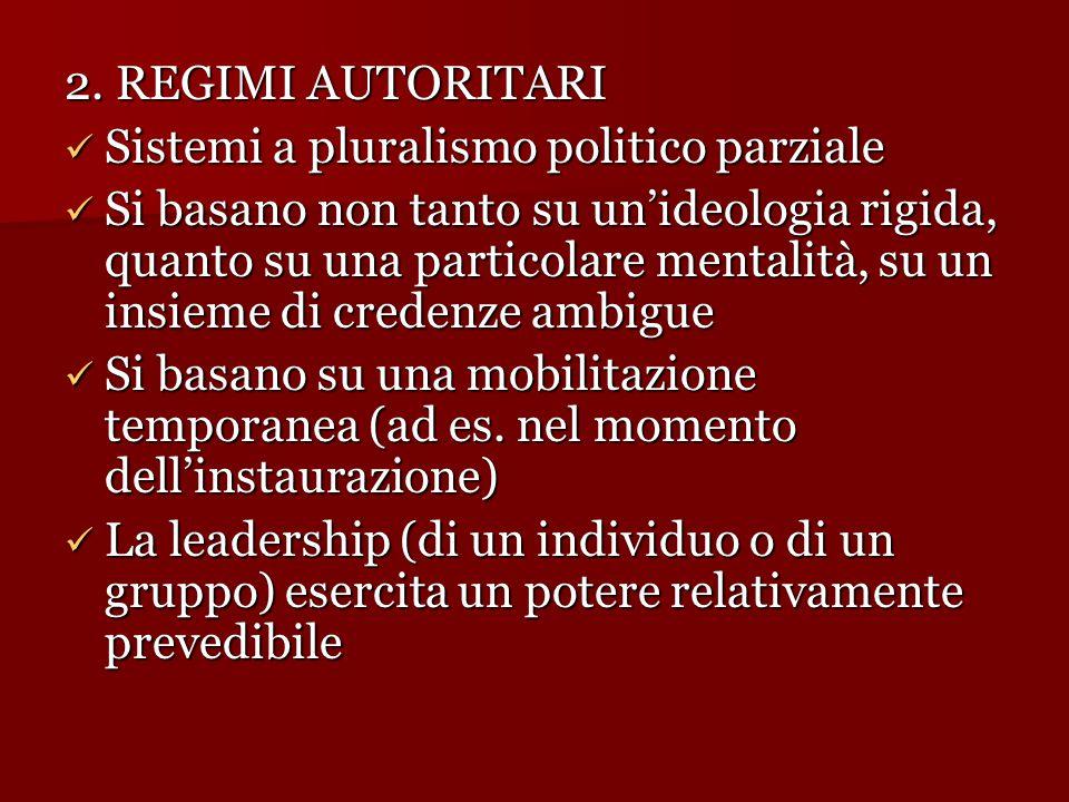 2. REGIMI AUTORITARI Sistemi a pluralismo politico parziale.