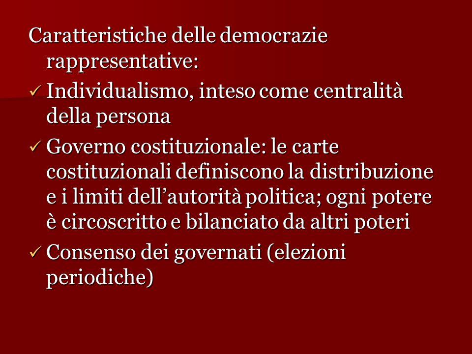 Caratteristiche delle democrazie rappresentative: