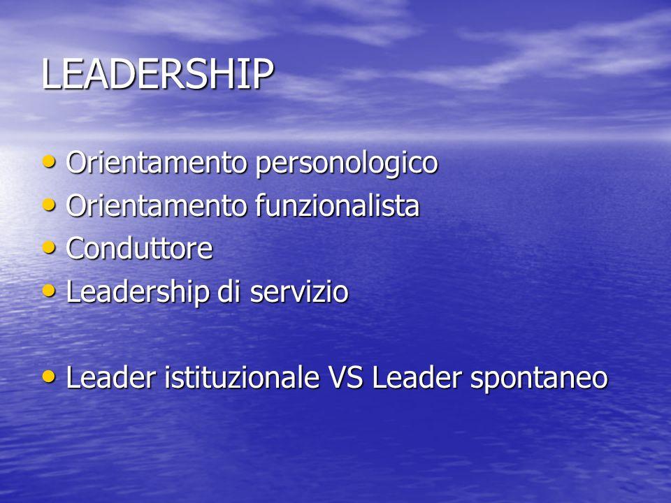 LEADERSHIP Orientamento personologico Orientamento funzionalista