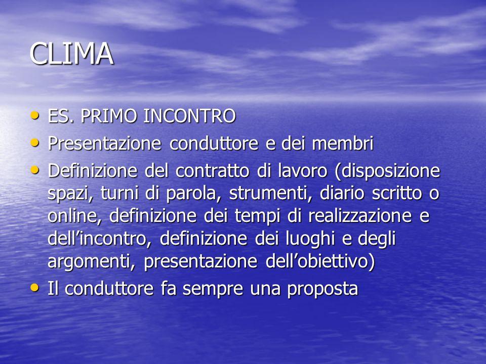 CLIMA ES. PRIMO INCONTRO Presentazione conduttore e dei membri