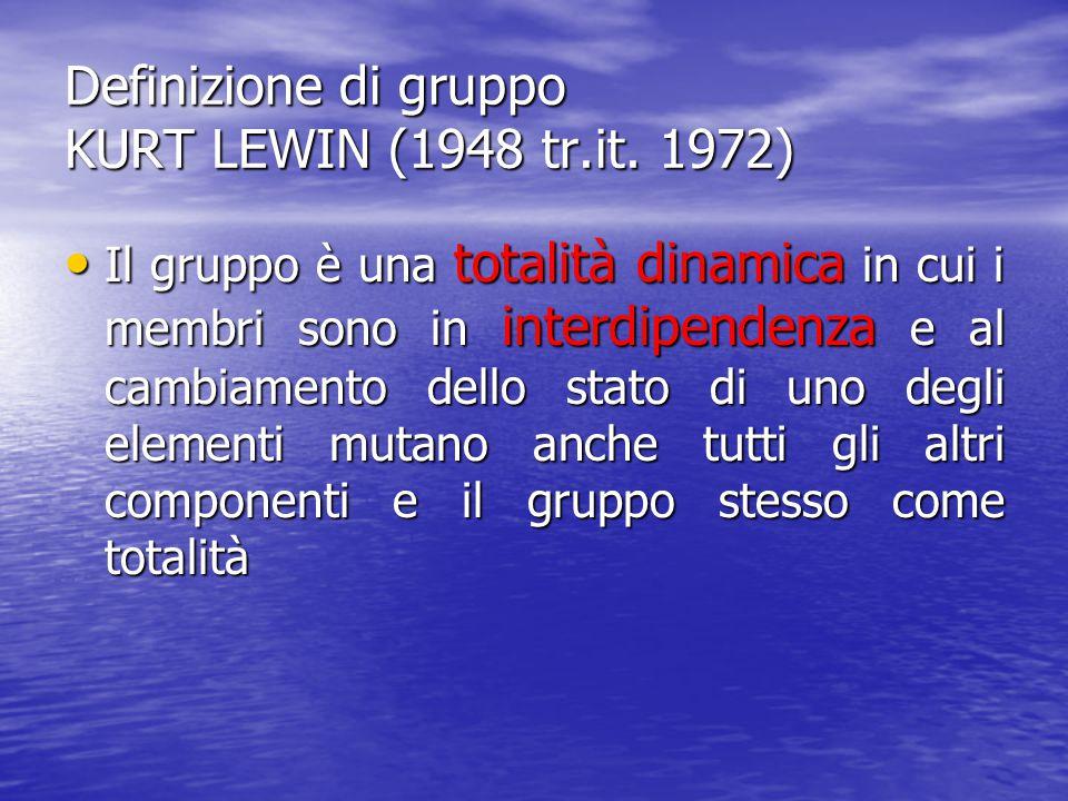 Definizione di gruppo KURT LEWIN (1948 tr.it. 1972)