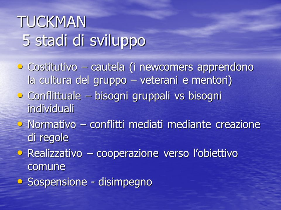 TUCKMAN 5 stadi di sviluppo