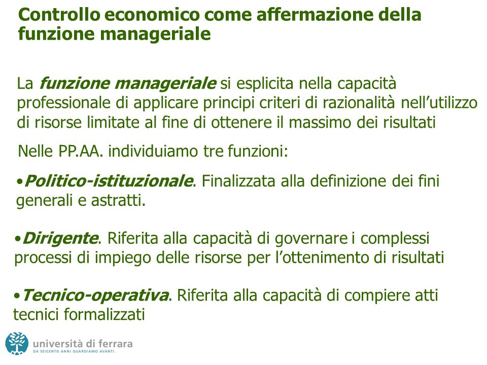 Controllo economico come affermazione della funzione manageriale