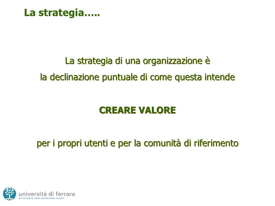 La strategia….. La strategia di una organizzazione è