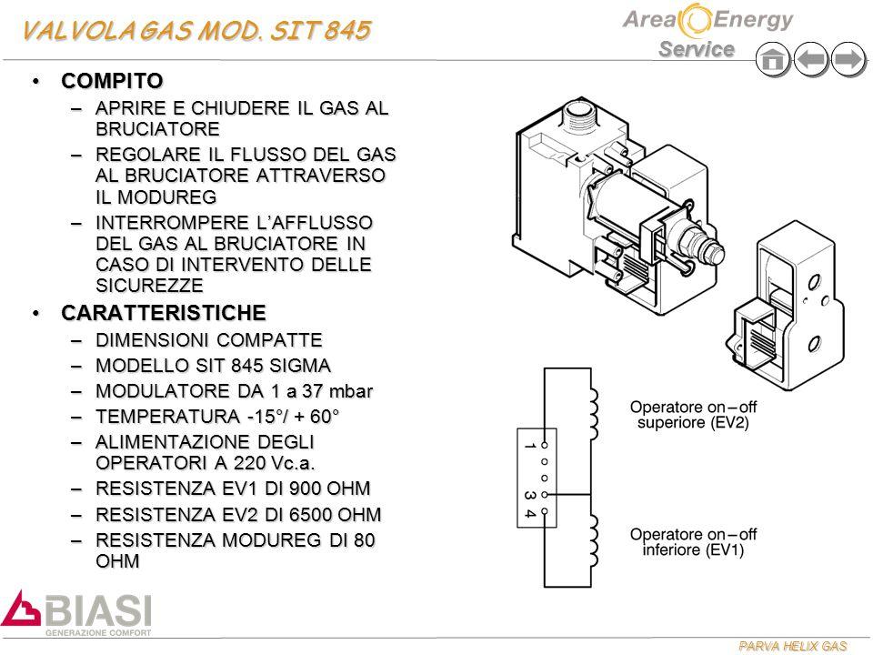 VALVOLA GAS MOD. SIT 845 COMPITO CARATTERISTICHE
