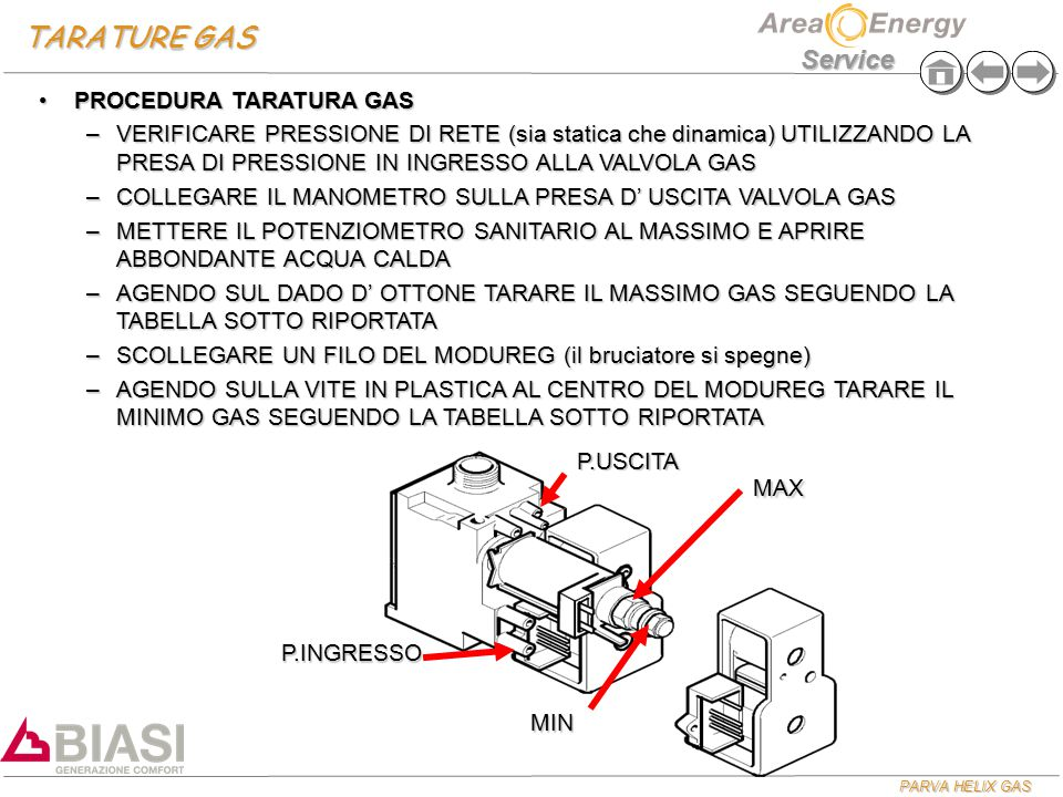 TARATURE GAS PROCEDURA TARATURA GAS