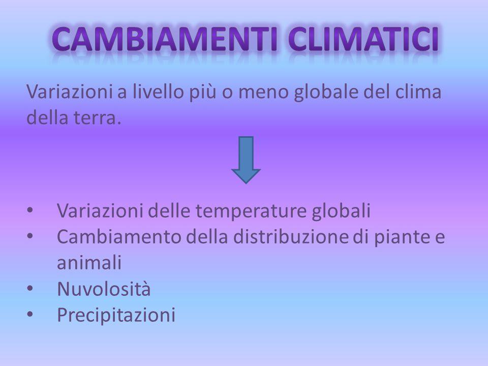 Variazioni a livello più o meno globale del clima della terra.
