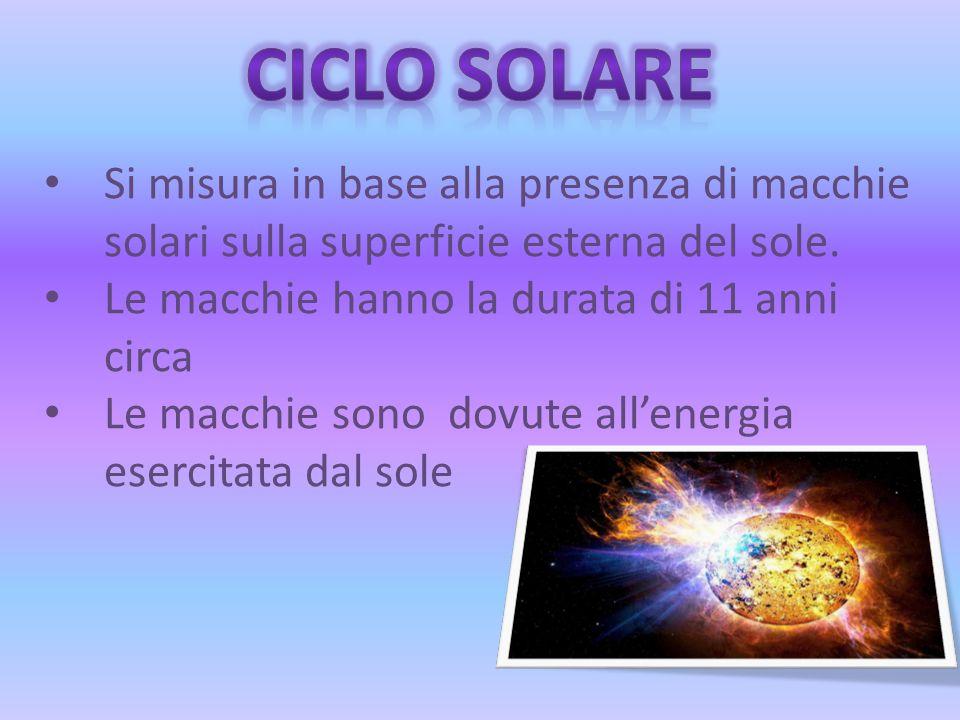 CICLO SOLARE Si misura in base alla presenza di macchie solari sulla superficie esterna del sole. Le macchie hanno la durata di 11 anni circa.
