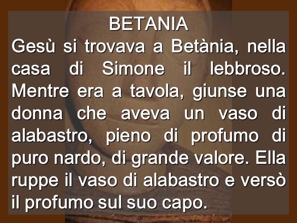 BETANIA Gesù si trovava a Betània, nella casa di Simone il lebbroso