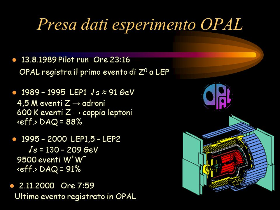 Presa dati esperimento OPAL