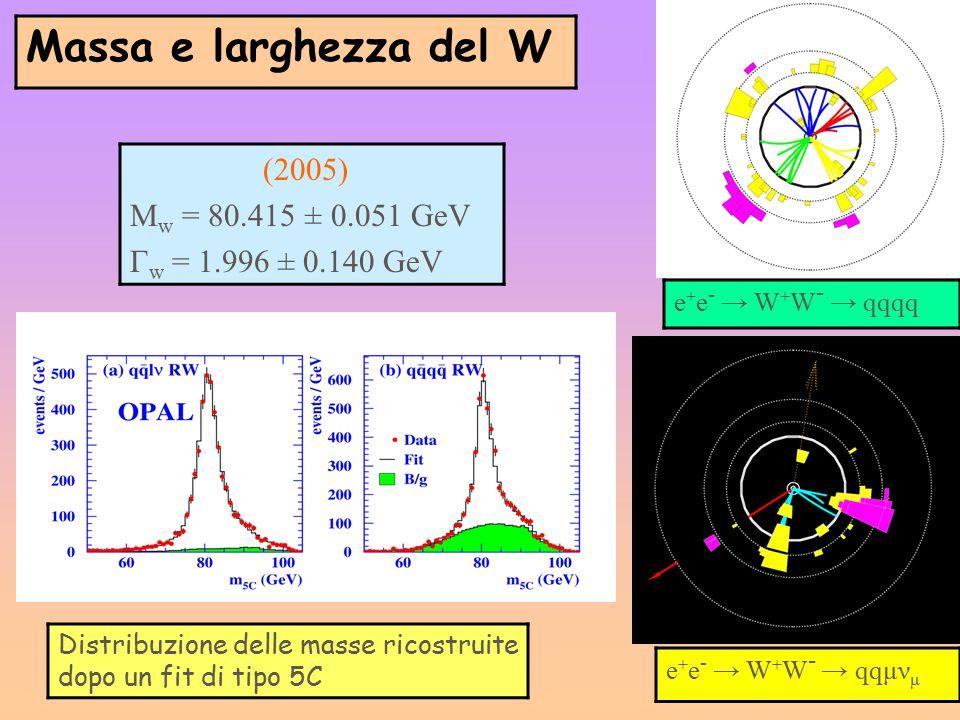 Massa e larghezza del W Mw = 80.415 ± 0.051 GeV Гw = 1.996 ± 0.140 GeV