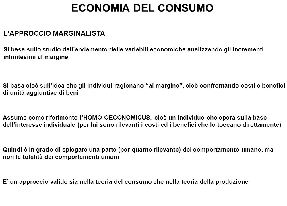 ECONOMIA DEL CONSUMO L'APPROCCIO MARGINALISTA