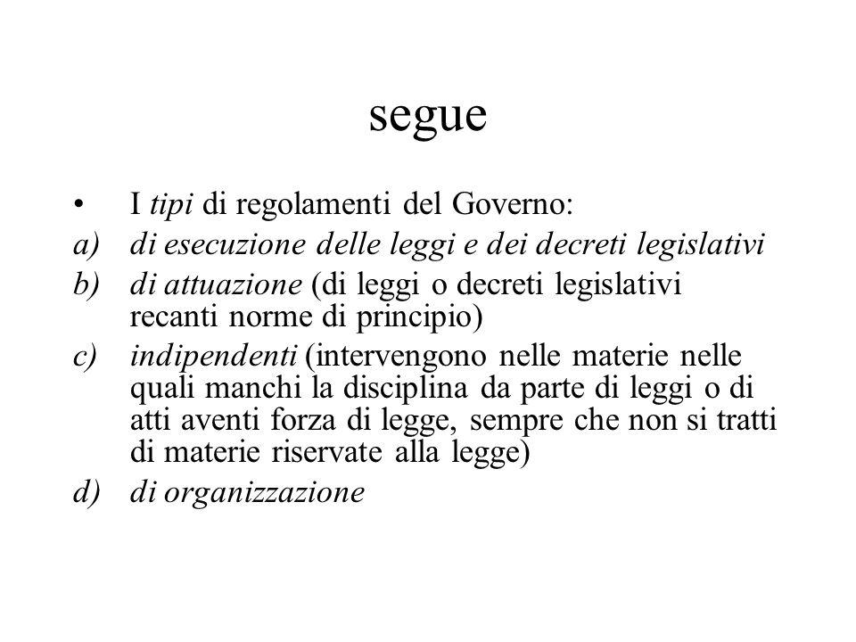 segue I tipi di regolamenti del Governo: