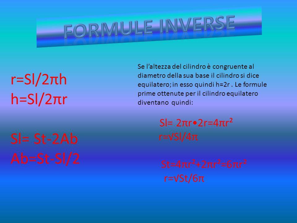 FORMULE INVERSE r=Sl/2πh h=Sl/2πr Sl= St-2Ab Ab=St-Sl/2 r=√Sl/4π