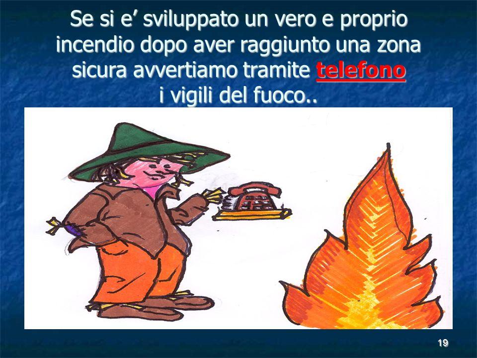 Se si e' sviluppato un vero e proprio incendio dopo aver raggiunto una zona sicura avvertiamo tramite telefono i vigili del fuoco..