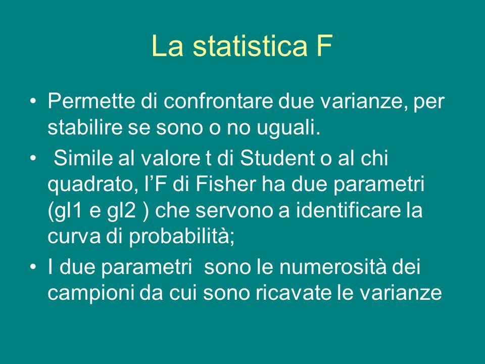 La statistica F Permette di confrontare due varianze, per stabilire se sono o no uguali.