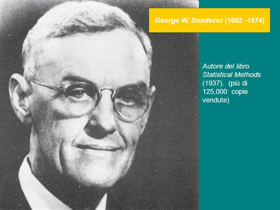 George W. Snedecor (1882 -1974) Autore del libro Statistical Methods (1937).