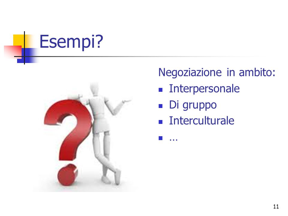Esempi Negoziazione in ambito: Interpersonale Di gruppo
