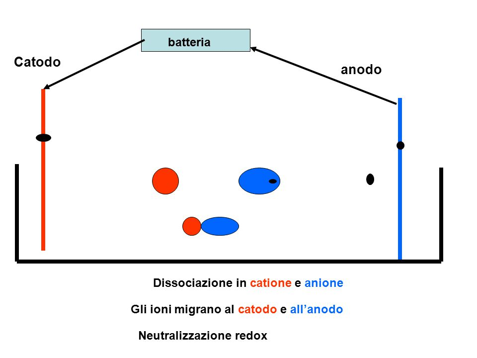 Catodo anodo batteria Dissociazione in catione e anione
