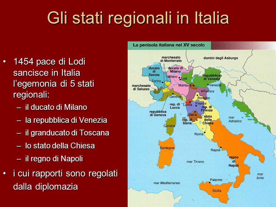 Gli stati regionali in Italia