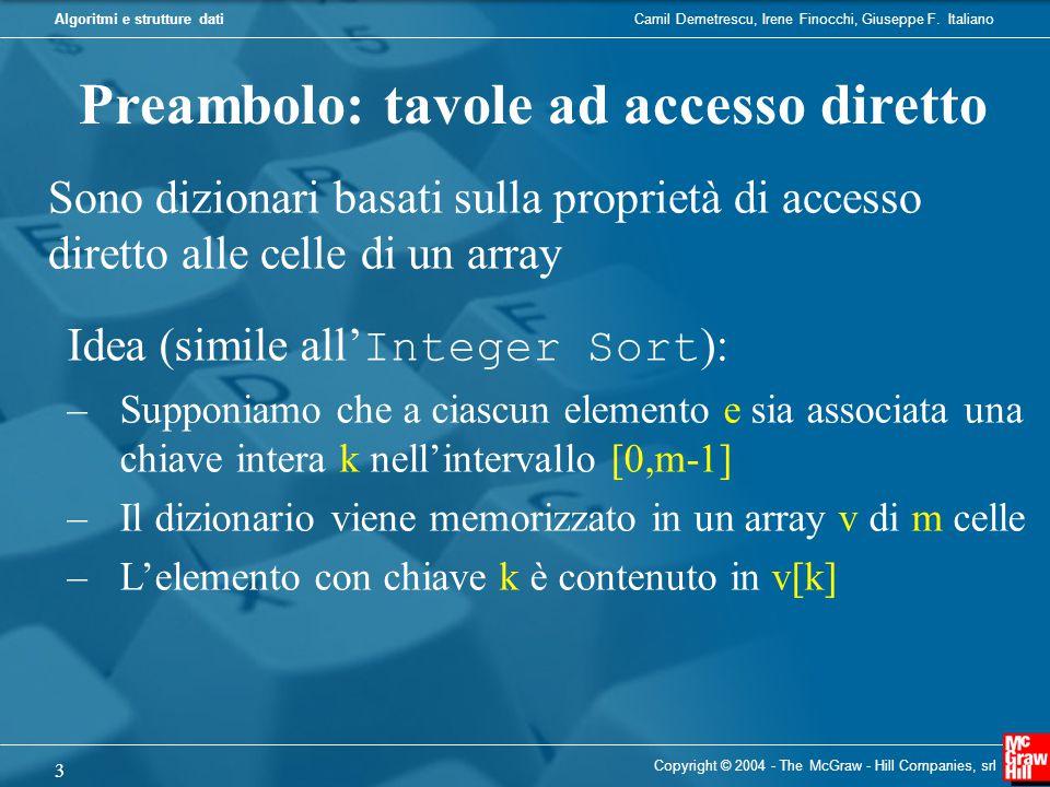 Preambolo: tavole ad accesso diretto