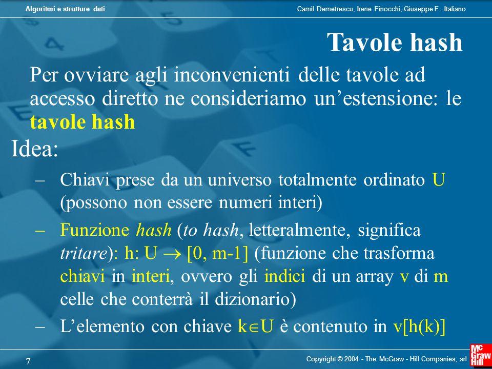 Tavole hash Per ovviare agli inconvenienti delle tavole ad accesso diretto ne consideriamo un'estensione: le tavole hash.
