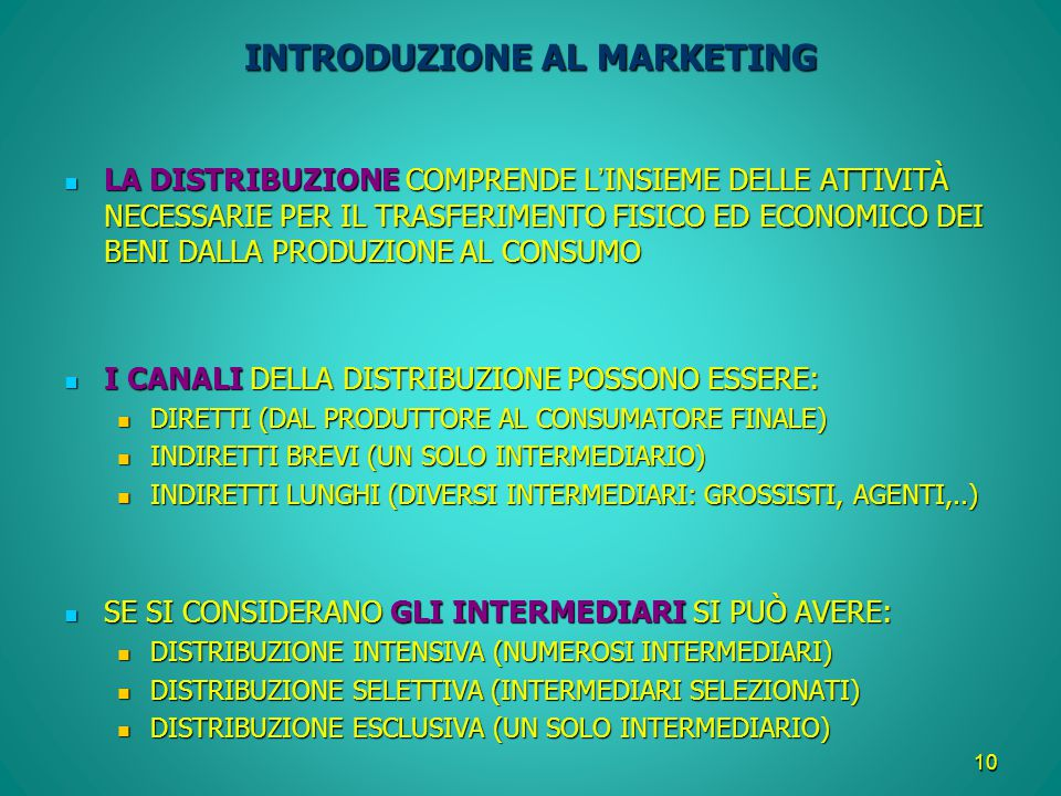 INTRODUZIONE AL MARKETING
