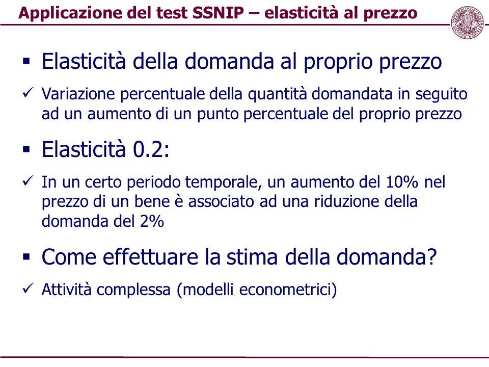 Applicazione del test SSNIP – elasticità al prezzo