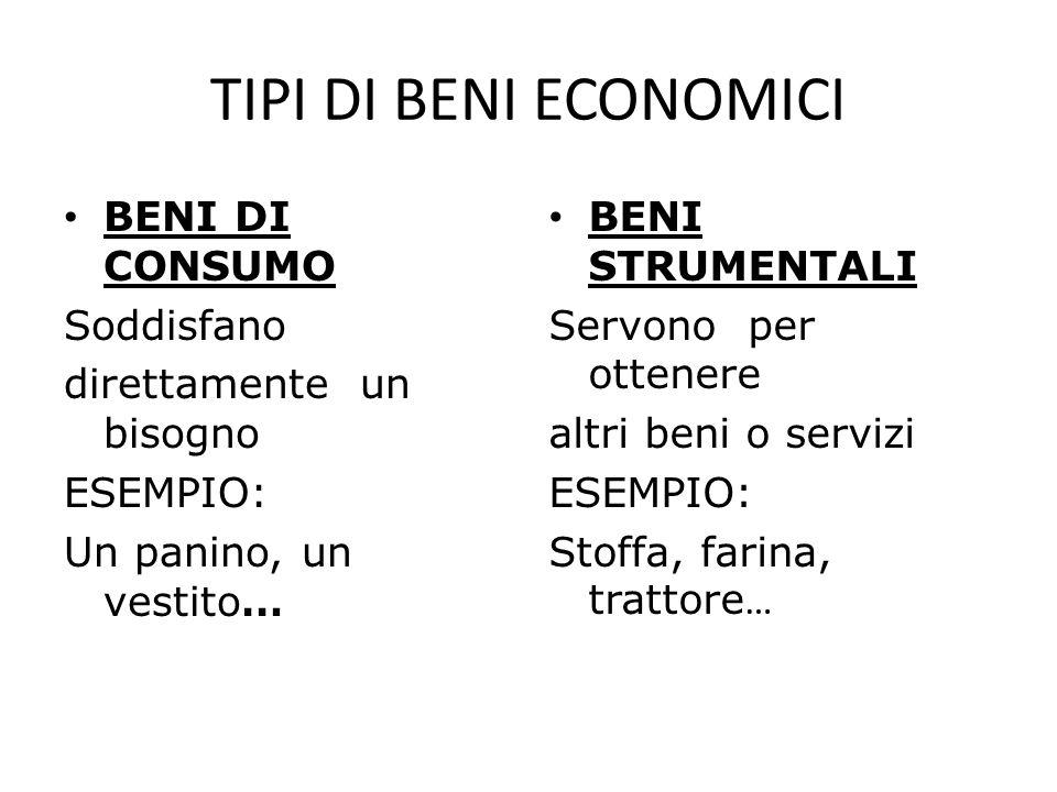 TIPI DI BENI ECONOMICI BENI DI CONSUMO Soddisfano