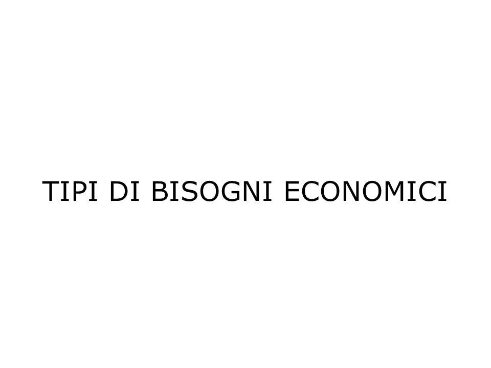 TIPI DI BISOGNI ECONOMICI