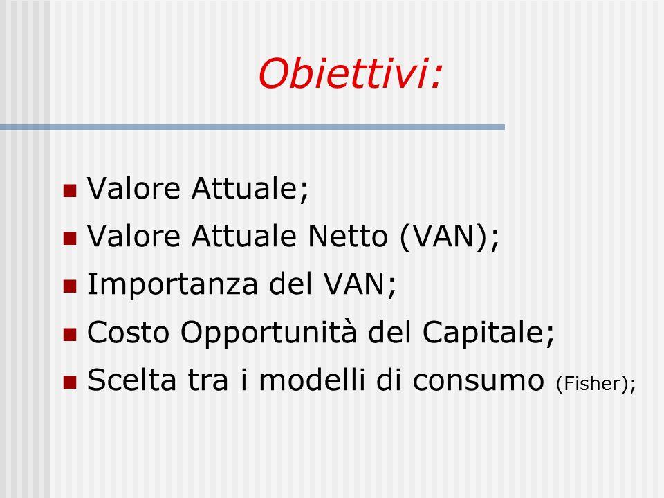 Obiettivi: Valore Attuale; Valore Attuale Netto (VAN);