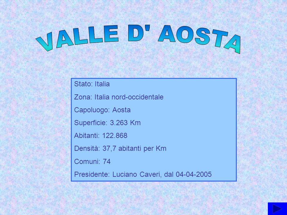 VALLE D AOSTA Stato: Italia Zona: Italia nord-occidentale