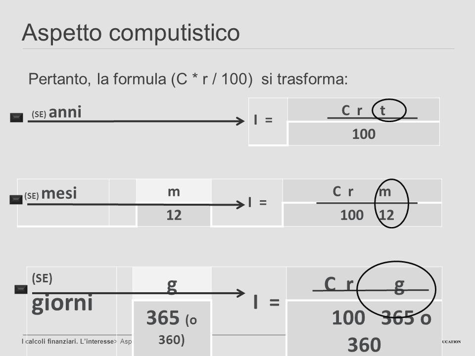 Aspetto computistico g C r g 365 (o 360) 100 365 o 360