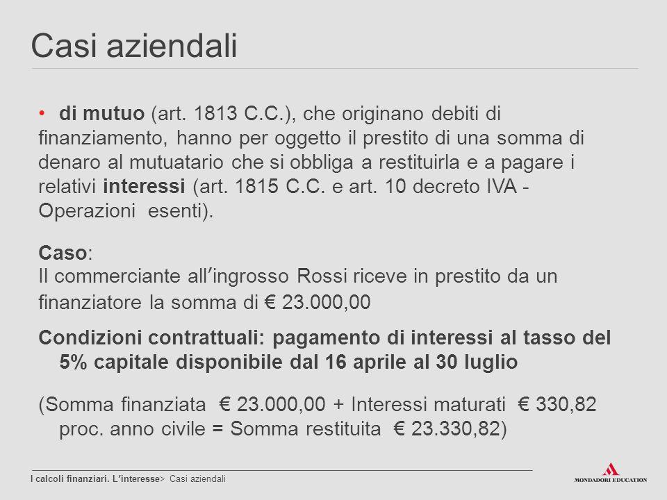Casi aziendali di mutuo (art. 1813 C.C.), che originano debiti di