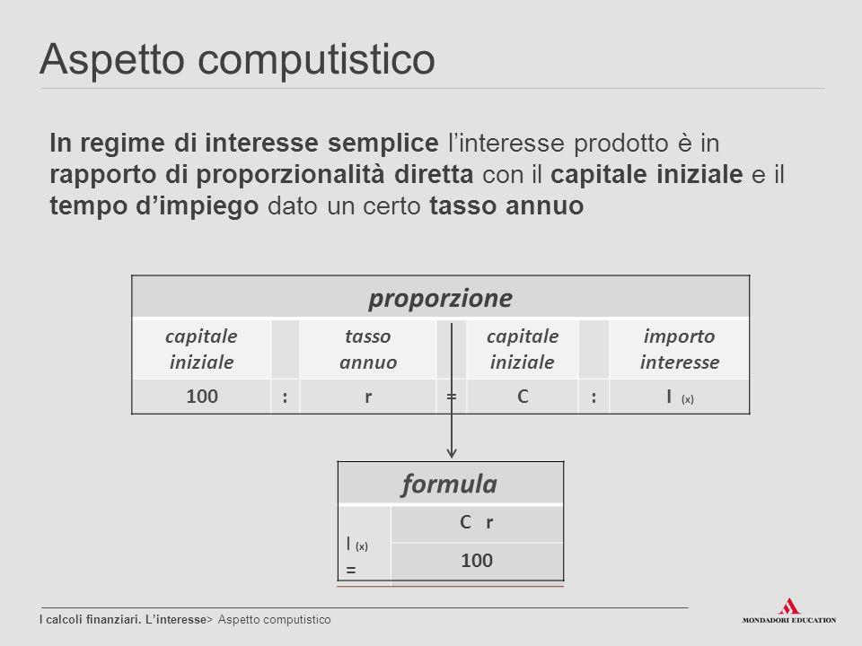 Aspetto computistico proporzione formula