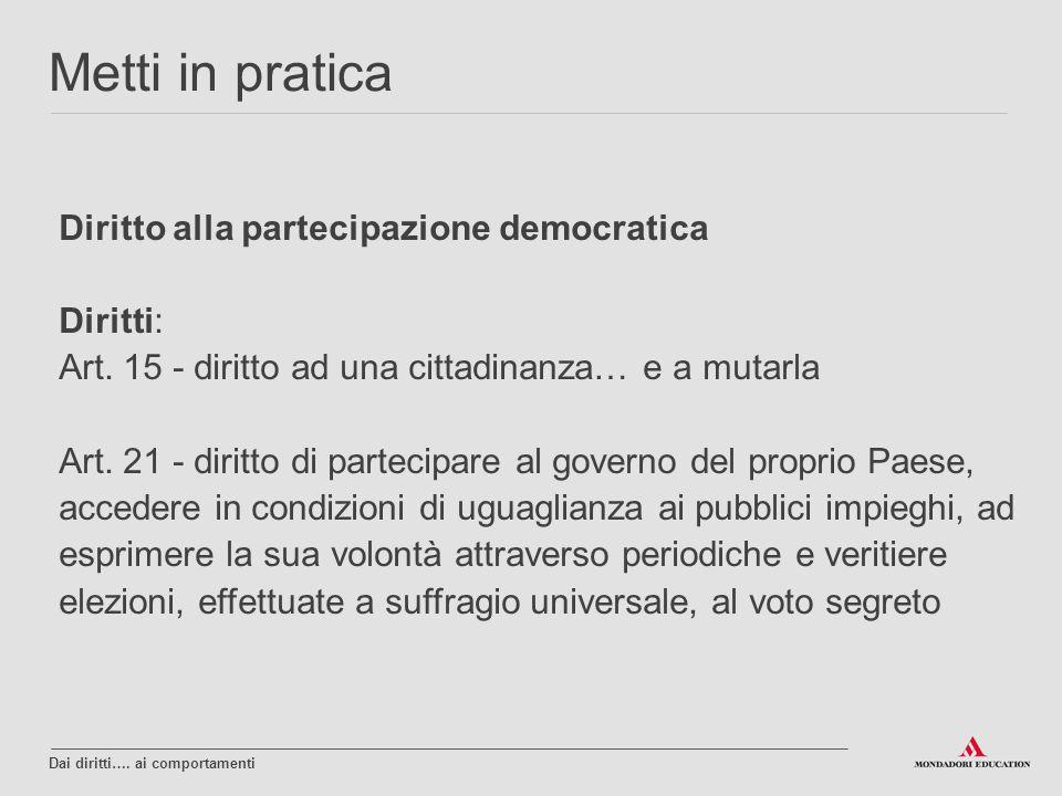 Metti in pratica Diritto alla partecipazione democratica Diritti: