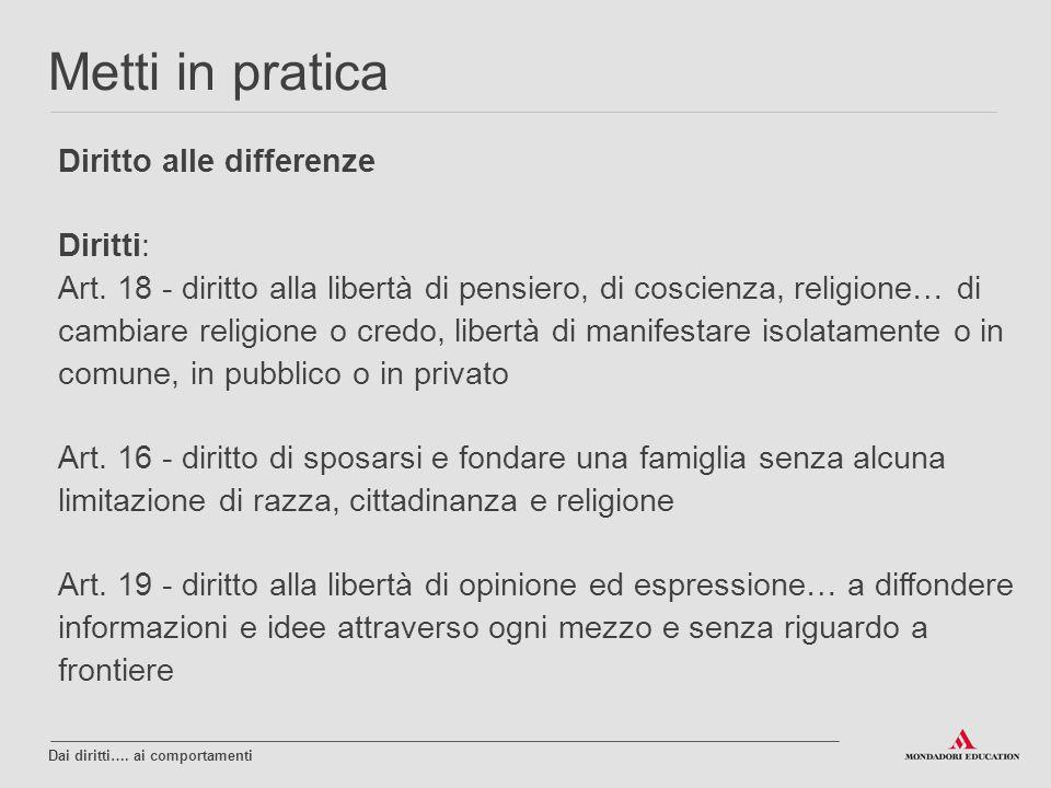 Metti in pratica Diritto alle differenze Diritti: