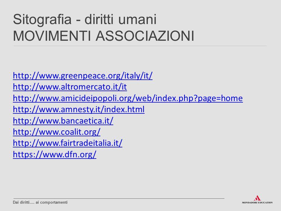 Sitografia - diritti umani MOVIMENTI ASSOCIAZIONI