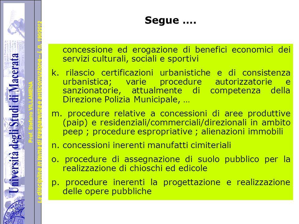 Segue …. concessione ed erogazione di benefici economici dei servizi culturali, sociali e sportivi.
