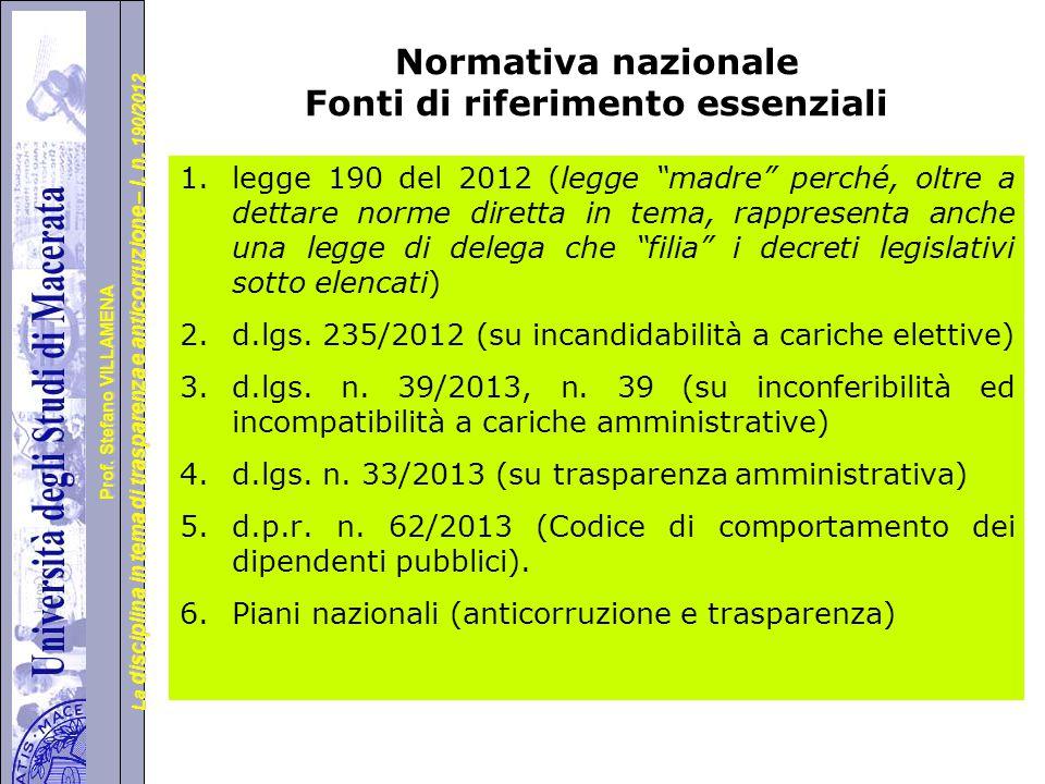 Normativa nazionale Fonti di riferimento essenziali