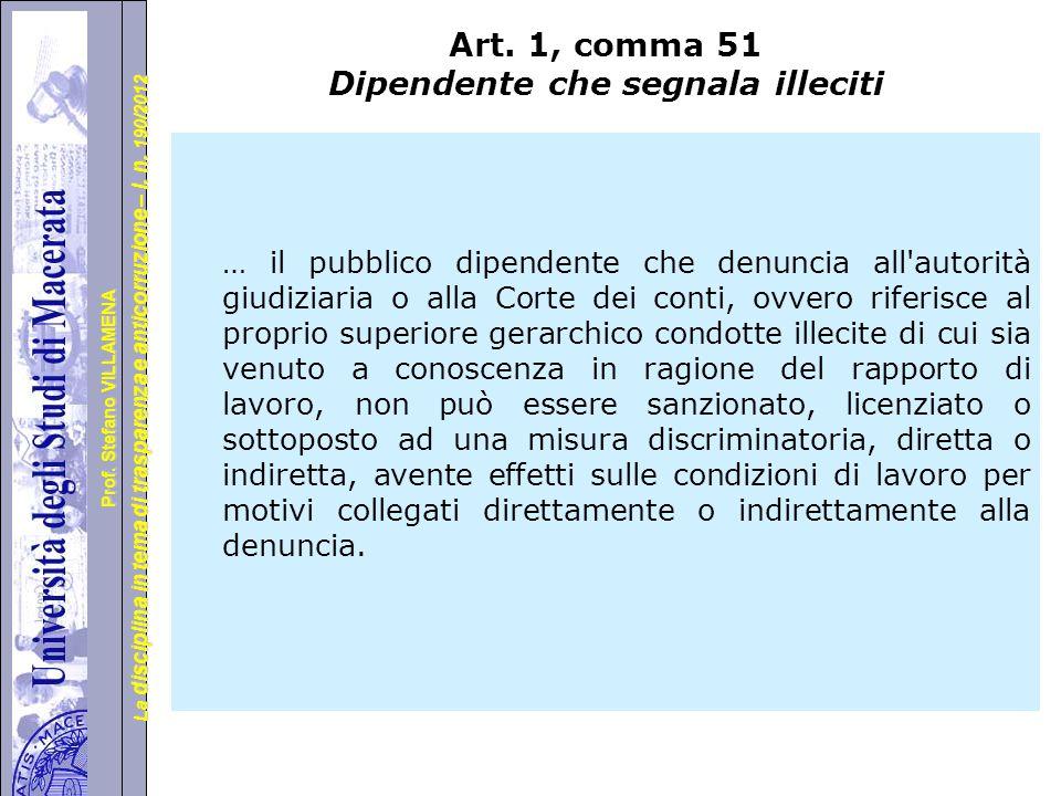 Art. 1, comma 51 Dipendente che segnala illeciti