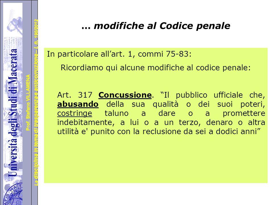 … modifiche al Codice penale
