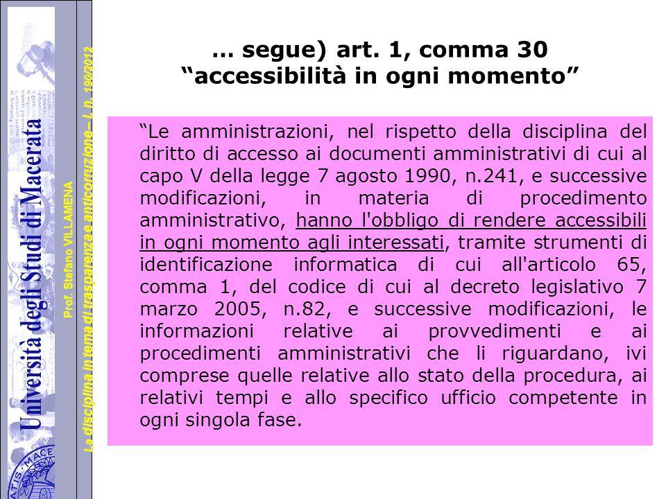… segue) art. 1, comma 30 accessibilità in ogni momento