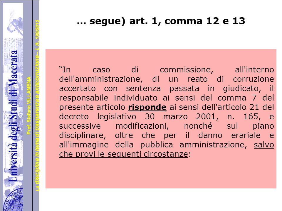 … segue) art. 1, comma 12 e 13